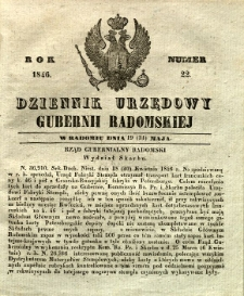 Dziennik Urzędowy Gubernii Radomskiej, 1846, nr 22