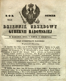 Dziennik Urzędowy Gubernii Radomskiej, 1846, nr 31
