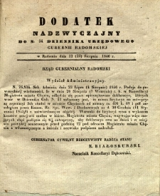 Dziennik Urzędowy Gubernii Radomskiej, 1846, nr 34, dod. nadzwyczajny I