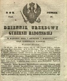 Dziennik Urzędowy Gubernii Radomskiej, 1846, nr 36