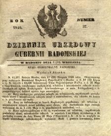 Dziennik Urzędowy Gubernii Radomskiej, 1846, nr 37