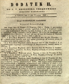 Dziennik Urzędowy Gubernii Radomskiej, 1846, nr 38, dod. II