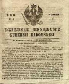 Dziennik Urzędowy Gubernii Radomskiej, 1846, nr 47