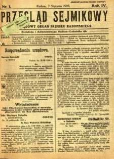 Przegląd Sejmikowy : Urzędowy Organ Sejmiku Radomskiego, 1925, R. 4, nr 1