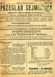 Przegląd Sejmikowy : Urzędowy Organ Sejmiku Radomskiego, 1925, R. 4, nr 3
