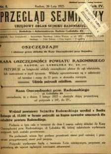 Przegląd Sejmikowy : Urzędowy Organ Sejmiku Radomskiego, 1925, R. 4, nr 8