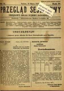 Przegląd Sejmikowy : Urzędowy Organ Sejmiku Radomskiego, 1925, R. 4, nr 11