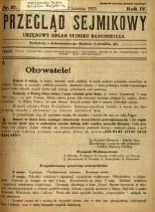 Przegląd Sejmikowy : Urzędowy Organ Sejmiku Radomskiego, 1925, R. 4, nr 16