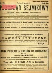 Przegląd Sejmikowy : Urzędowy Organ Sejmiku Radomskiego, 1925, R. 4, nr 26