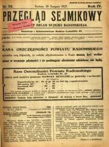 Przegląd Sejmikowy : Urzędowy Organ Sejmiku Radomskiego, 1925, R. 4, nr 32