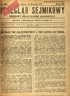 Przegląd Sejmikowy : Urzędowy Organ Sejmiku Radomskiego, 1925, R. 4, nr 36