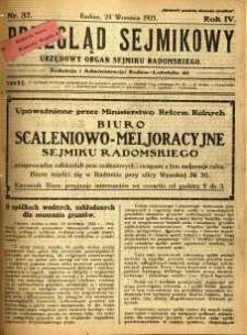 Przegląd Sejmikowy : Urzędowy Organ Sejmiku Radomskiego, 1925, R. 4, nr 37