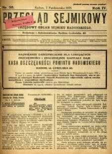 Przegląd Sejmikowy : Urzędowy Organ Sejmiku Radomskiego, 1925, R. 4, nr 38