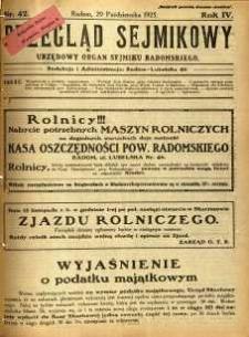 Przegląd Sejmikowy : Urzędowy Organ Sejmiku Radomskiego, 1925, R. 4, nr 42