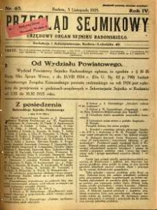 Przegląd Sejmikowy : Urzędowy Organ Sejmiku Radomskiego, 1925, R. 4, nr 43