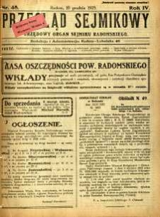 Przegląd Sejmikowy : Urzędowy Organ Sejmiku Radomskiego, 1925, R. 4, nr 48