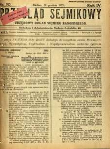 Przegląd Sejmikowy : Urzędowy Organ Sejmiku Radomskiego, 1925, R. 4, nr 50