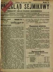 Przegląd Sejmikowy : Urzędowy Organ Sejmiku Radomskiego, 1926, R. 5, nr 2