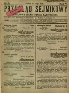Przegląd Sejmikowy : Urzędowy Organ Sejmiku Radomskiego, 1926, R. 5, nr 6
