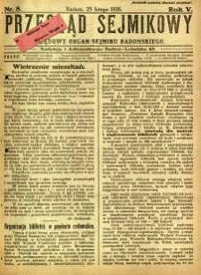 Przegląd Sejmikowy : Urzędowy Organ Sejmiku Radomskiego, 1926, R. 5, nr 8