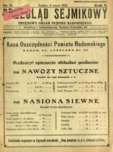Przegląd Sejmikowy : Urzędowy Organ Sejmiku Radomskiego, 1926, R. 5, nr 9