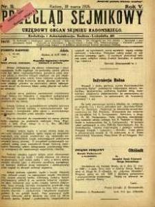 Przegląd Sejmikowy : Urzędowy Organ Sejmiku Radomskiego, 1926, R. 5, nr 11