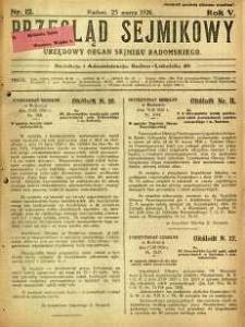 Przegląd Sejmikowy : Urzędowy Organ Sejmiku Radomskiego, 1926, R. 5, nr 12