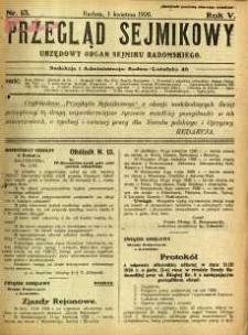 Przegląd Sejmikowy : Urzędowy Organ Sejmiku Radomskiego, 1926, R. 5, nr 13