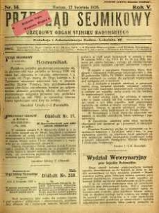 Przegląd Sejmikowy : Urzędowy Organ Sejmiku Radomskiego, 1926, R. 5, nr 14