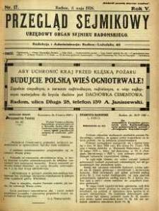 Przegląd Sejmikowy : Urzędowy Organ Sejmiku Radomskiego, 1926, R. 5, nr 17