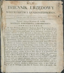 Dziennik Urzędowy Województwa Sandomierskiego, 1834, nr 3