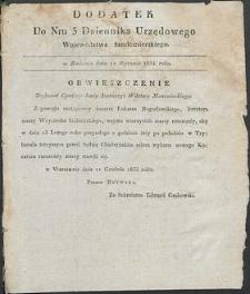 Dziennik Urzędowy Województwa Sandomierskiego, 1834, nr 3, dod. I