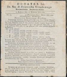 Dziennik Urzędowy Województwa Sandomierskiego, 1834, nr 18, dod. III
