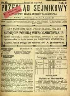 Przegląd Sejmikowy : Urzędowy Organ Sejmiku Radomskiego, 1926, R. 5, nr 19