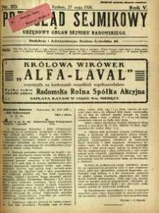 Przegląd Sejmikowy : Urzędowy Organ Sejmiku Radomskiego, 1926, R. 5, nr 20