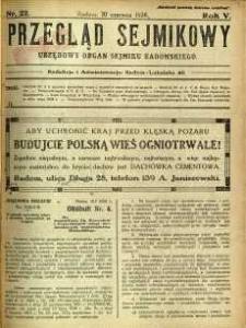 Przegląd Sejmikowy : Urzędowy Organ Sejmiku Radomskiego, 1926, R. 5, nr 22