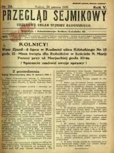 Przegląd Sejmikowy : Urzędowy Organ Sejmiku Radomskiego, 1926, R. 5, nr 24
