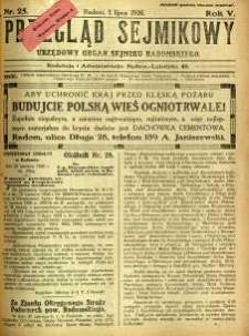 Przegląd Sejmikowy : Urzędowy Organ Sejmiku Radomskiego, 1926, R. 5, nr 25