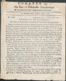 Dziennik Urzędowy Województwa Sandomierskiego, 1834, nr 22, dod. II