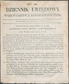 Dziennik Urzędowy Województwa Sandomierskiego, 1834, nr 28