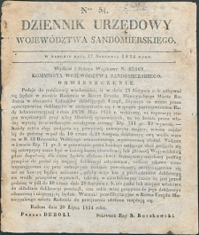 Dziennik Urzędowy Województwa Sandomierskiego, 1834, nr 34