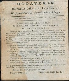 Dziennik Urzędowy Województwa Sandomierskiego, 1834, nr 47, dod. I