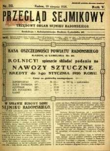 Przegląd Sejmikowy : Urzędowy Organ Sejmiku Radomskiego, 1926, R. 5, nr 32
