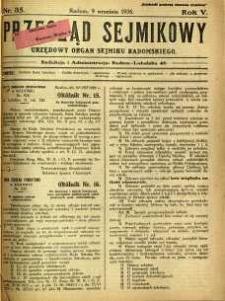 Przegląd Sejmikowy : Urzędowy Organ Sejmiku Radomskiego, 1926, R. 5, nr 35