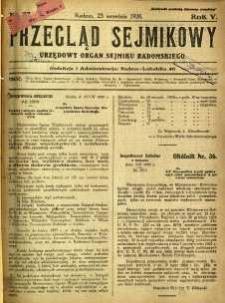 Przegląd Sejmikowy : Urzędowy Organ Sejmiku Radomskiego, 1926, R. 5, nr 37