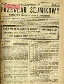 Przegląd Sejmikowy : Urzędowy Organ Sejmiku Radomskiego, 1926, R. 5, nr 39
