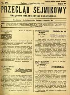 Przegląd Sejmikowy : Urzędowy Organ Sejmiku Radomskiego, 1926, R. 5, nr 40