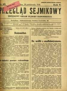 Przegląd Sejmikowy : Urzędowy Organ Sejmiku Radomskiego, 1926, R. 5, nr 42