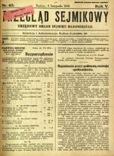 Przegląd Sejmikowy : Urzędowy Organ Sejmiku Radomskiego, 1926, R. 5, nr 43