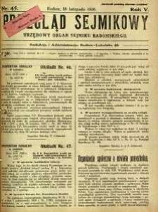 Przegląd Sejmikowy : Urzędowy Organ Sejmiku Radomskiego, 1926, R. 5, nr 45